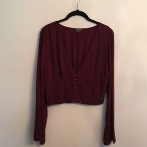 Cropped hook and eye blouse